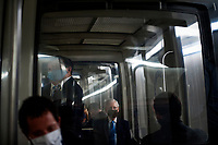 United States Senate Majority Leader Mitch McConnell (Republican of Kentucky) rides the Senate subway following the GOP luncheon in the Hart Senate Office Building on Capitol Hill in Washington, DC., Tuesday, September 15, 2020. <br /> Credit: Rod Lamkey / CNP /MediaPunch