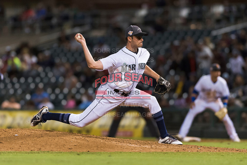 AFL West relief pitcher Wyatt Mills (25), of the Peoria Javelinas and Seattle Mariners organization, delivers a pitch during the Arizona Fall League Fall Stars game at Surprise Stadium on November 3, 2018 in Surprise, Arizona. The AFL West defeated the AFL East 7-6 . (Zachary Lucy/Four Seam Images)