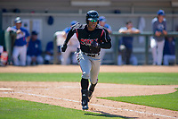 Lake Elsinore Storm Buddy Reed (23) hustles down the first base line against the Rancho Cucamonga Quakes at LoanMart Field on May 28, 2018 in Rancho Cucamonga, California. The Storm defeated the Quakes 8-5.  (Donn Parris/Four Seam Images)