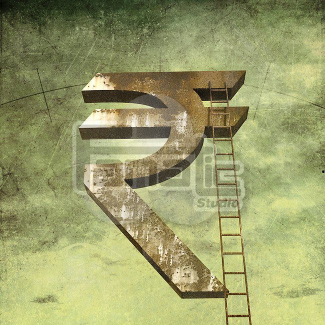Corporate ladder of success on Indian currency symbol over green background