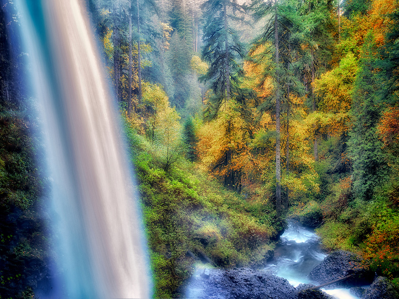 North Falls and fall color. Silver Falls State Park, Oregon