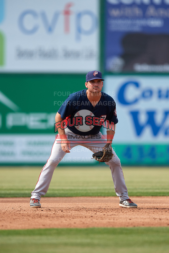 Potomac Nationals third baseman Jake Noll (13) during the first game of a doubleheader against the Lynchburg Hillcats on June 9, 2018 at Calvin Falwell Field in Lynchburg, Virginia.  Lynchburg defeated Potomac 5-3.  (Mike Janes/Four Seam Images)
