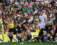 Lee Dickson of Northampton Saints sends up a box kick during the Aviva Premiership match between Northampton Saints and Exeter Chiefs at Franklin's Gardens on Sunday 9th September 2012 (Photo by Rob Munro)