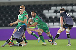 Connacht number 8 George Naoupu drives into Ospreys flanker Justin Tipuric.<br /> Guiness Pro12<br /> Ospreys v Connacht<br /> Liberty Stadium<br /> 31.10.14<br /> ©Steve Pope-SPORTINGWALES
