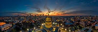 Beautiful aerial view of the Texas State Capitol during winter sunset.   Aerial photography makes it possible to go high in the sky and catch the most spectacular sunsets over the Capital.