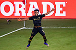 Latif Blessing of Los Angeles FC (USA) celebrates after scoring his team's third goal against Club America (MEX) during their CONCACAF Champions League Semi Finals match at the Orlando's Exploria Stadium on 19 December 2020, in Florida, USA. Photo by Victor Fraile / Power Sport Images