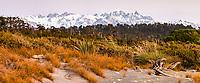 Pastel winter twilight views of Mount Tasman second highest peak in New Zealand 3497m with Franz Josef Glacier on left,  Westland Tai Poutini National Park, UNESCO World Heritage Area, West Coast, New Zealand, NZ