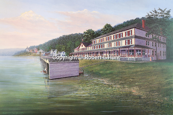 """The Clubhouse and boat houses at Lake Conemaugh's  South Fork Fishing and Hunting Club before the Johnstown Flood in 1889. Fine art limited edition lithographs available, 12.5"""" x 19"""", complete with Certificate of Authority."""