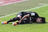 Makoto Hasebe (Eintracht Frankfurt #20) ist verlewtzt, SSV Ulm 1846 - Eintracht Frankfurt, Football, DFB-Pokal,round 1, 18.08.2018<br />DFB RULES PROHIBIT USE IN MMS SERVICES VIA HANDHELD DEVICES UNTIL TWO HOURS AFTER A MATCH AND ANY USAGE ON INTERNET OR ONLINE MEDIA SIMULATING VIDEO FOOdayE DURING THE MATCH. *** Local Caption *** © pixathlon<br /> Contact: +49-40-22 63 02 60 , info@pixathlon.de