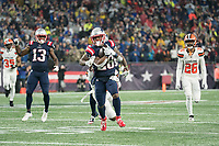 FOXBOROUGH, MA - OCTOBER 27: New England Patriots Runningback James White #28 is tackled by Cleveland Browns Safety Juston Burris #31 during a game between Cleveland Browns and New Enlgand Patriots at Gillettes on October 27, 2019 in Foxborough, Massachusetts.