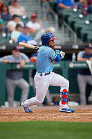 Buffalo Bisons Santiago Espinal (2) at bat during an International League game against the Pawtucket Red Sox on August 25, 2019 at Sahlen Field in Buffalo, New York.  Buffalo defeated Pawtucket 5-4 in 11 innings.  (Mike Janes/Four Seam Images)