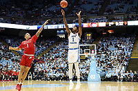 CHAPEL HILL, NC - NOVEMBER 01: Rechon Leaky Black #1 of the University of North Carolina takes a jump shot during a game between Winston-Salem State University and University of North Carolina at Dean E. Smith Center on November 01, 2019 in Chapel Hill, North Carolina.