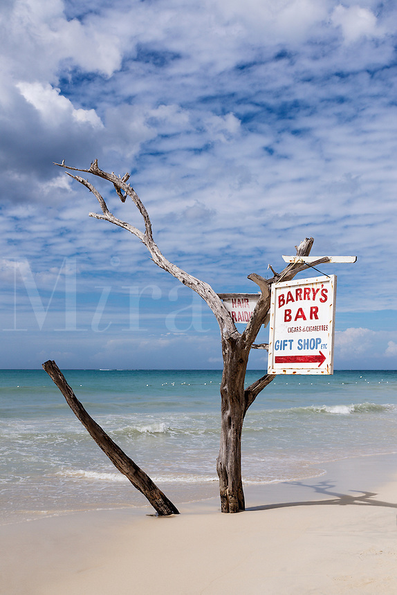 Driftwood sign for beach bar, Negril, Jamaica