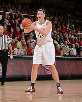STANFORD, CA - DECEMBER 28: Sarah Boothe of Stanford women's basketball looks into the lane in a game against Xavier on December 28, 2010 at Maples Pavilion in Stanford, California.  Stanford topped Xavier, 89-52.