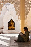 Myanmar, Burma.  Man Reading at Shwezegon (Shwezigon) Pagoda, near Bagan.