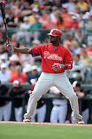 Philadelphia Phillies first baseman Ryan Howard (6) during a spring training game against the Baltimore Orioles on March 7, 2014 at Ed Smith Stadium in Sarasota, Florida.  Baltimore defeated Philadelphia 15-4.  (Mike Janes/Four Seam Images)