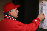 OAKLAND, CA - SEPTEMBER 17:  Manager Mike Scioscia of the Los Angeles Angels of Anaheim goes over the line up card in the dugout before the game against the Oakland Athletics at the McAfee Coliseum in Oakland, California on September 17, 2008.  The Athletics defeated the Angels 3-2.  Photo by Brad Mangin