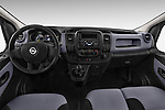 Straight Dashboard View of 2015 Opel Vivaro Edition 4 Door Cargo Van 2WD Stock Photo