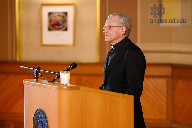 February 17, 2021; University of Notre Dame President Rev. John I. Jenkins, C.S.C. records remarks for the 2021 Walk the Walk Week program. The annual event was modified from an in-person gathering to a recorded presentation due to ongoing COVID-19 protocols. (Photo by Matt Cashore/University of Notre Dame)