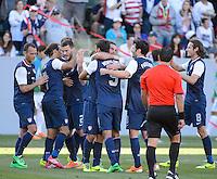 Carson, Ca - Saturday, Feb. 1, 2014: The USA Men's national team defeated South Korea 2-0 during an international friendly. Team Celebration after a Chris Wondolowski goal.