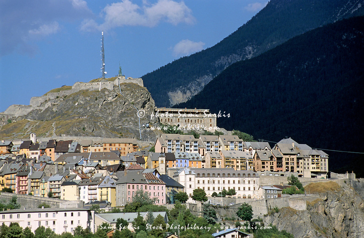 Quaint townscape nestled among mountains, Briancon, French Alps, France.