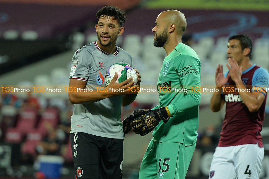 Darren Randolph and Macauley Bonne of Charlton Athletic FC during West Ham United vs Charlton Athletic, Caraboa Cup Football at The London Stadium on 15th September 2020