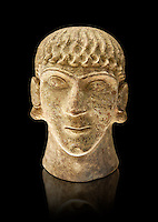 First half of the 6th century B.C Etruscan clay head of a young man made in Chiusi, inv 94612, National Archaeological Museum Florence, Italy , black background