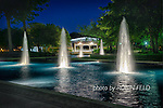 Lincoln Park, Kettering Ohio, nighttime photo of fountains