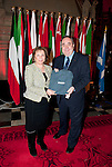 First Minister Alex Salmond, First Minister of Scotland presents Her Excellency Ms. Alice Samaan (Embassy of The Kingdom of Bahrain) with a gift following the dinner and reception held at Edinburgh Castle this evening..Pic Kenny Smith, Kenny Smith Photography.6 Bluebell Grove, Kelty, Fife, KY4 0GX .Tel 07809 450119,
