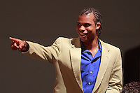The first pick of Toronto FC, and the ninth pick overall, Julius James points to supports as his name is called during the MLS SuperDraft at the Baltimore Convention Center in Baltimore, MD, on January 18, 2008.