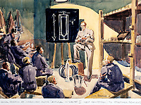 BNPS.co.uk (01202 558833)Pic: DominicWinter/BNPS<br /> <br /> 'Incendiary bomb lecture in Depot 1'<br /> <br /> Unseen harrowing drawings which vividly capture the horrors of the Blitz during World War Two have come to light 78 years later.<br /> <br /> Artist Ivor Beddoes began the war as an actor in the West End but quit to become a stretcher bearer as the German bombs rained down on London.<br /> <br /> He made sketches on the spot and then added watercolours later, documenting in graphic detail the devastation caused.<br /> <br /> Beddoes' drawings show bodies strewn on the blood soaked ground as the Luftwaffe did their worst. Others reveal frantic searches for survivors in the rubble of decimated buildings.<br /> <br /> The drawings have emerged for sale with auction house Dominic Winter, of Cirencester, Gloucs. They are expected to fetch £5,000.