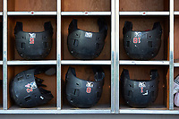 Rochester Red Wings batting helmets are ready to go prior to the game against the Charlotte Knights at BB&T BallPark on May 14, 2019 in Charlotte, North Carolina. The Knights defeated the Red Wings 13-7. (Brian Westerholt/Four Seam Images)