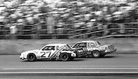 Cale Yarborough (27) and Dale Earnhardt battle during the Daytona 500, Daytona International Speedway, Daytona Beach, FL, February 15, 1981.  (Photo by Brian Cleary/www.bcpix.com)
