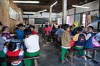 Myanmar, Burma, Kalaw.  Elementary School Classroom and Burmese Children.