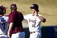 Conor Smith (16) of the Missouri State Bears celebrates with teammates after scoring a base runner during a game against the Southern Illinois University- Edwardsville Cougars at  Hammons Field on March 10, 2012 in Springfield, Missouri. (David Welker / Four Seam Images)