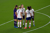 ORLANDO CITY, FL - FEBRUARY 18: Becky Sauerbrunn #4 speaks to teammates during a game between Canada and USWNT at Exploria stadium on February 18, 2021 in Orlando City, Florida.