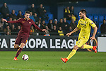 Kevin Strootman of AS Roma fights for the ball with Jaume Vicent Costa Jordá of Villarreal CF and Víctor Ruiz Torre of Villarreal CF  during the match Villarreal CF vs AS Roma, part of the UEFA Europa League 2016-17 Round of 32 at the Estadio de la Cerámica on 16 February 2017 in Villarreal, Spain. Photo by Maria Jose Segovia Carmona / Power Sport Images