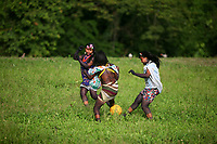 Emberá Dóvida  indigenous girls   plays in Choco department, in the Pacific coast of Colombia