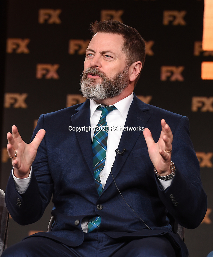 """PASADENA, CA - JANUARY 9: Cast member Nick Offerman attends the panel for """"Devs"""" during the FX Networks presentation at the 2020 TCA Winter Press Tour at the Langham Huntington on January 9, 2020 in Pasadena, California. (Photo by Frank Micelotta/FX Networks/PictureGroup)"""