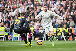 Cristiano Ronaldo of Real Madrid fights for the ball with David Lopez of RCD Espanyol during the match Real Madrid vs RCD Espanyol, a La Liga match at the Santiago Bernabeu Stadium on 18 February 2017 in Madrid, Spain. Photo by Diego Gonzalez Souto / Power Sport Images