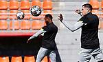 Atletico de Madrid's Moussa Dembele (l) and Jose Maria Gimenez during training session. March 16,2021.(ALTERPHOTOS/Atletico de Madrid/Pool)
