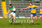 Seán O'Shea, Kerry, in action against Darragh Bohannan, Clare, during the Munster Football Championship game between Kerry and Clare at Fitzgerald Stadium, Killarney on Saturday.