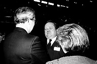 Jean Garon (M) attend the Rene Levesque tribute at Montreal's convention centre, October 2nd,1985.<br /> <br /> File Photo : Agence Quebec Presse - Pierre Roussel
