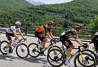 11th July 2021, Ceret, Pyrénées-Orientales, France; Tour de France cycling tour, stage 15, Ceret to  Andorre-La-Vieille;  KRUIJSWIJK Steven (NED) of JUMBO - VISMA, VAN AERT Wout (BEL) of JUMBO - VISMA , ALAPHILIPPE Julian (FRA) of DECEUNINCK - QUICK - STEP  during stage 15 of the 108th edition of the 2021 Tour de France cycling race, a stage of 191,3 kms between Ceret and Andorre-La-Vieille