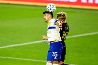 LOS ANGELES, CA - SEPTEMBER 02: Andrés Rios #25 of San Jose Earthquakes battles Bryce Duke #19 for a ball during a game between San Jose Earthquakes and Los Angeles FC at Banc of California stadium on September 02, 2020 in Los Angeles, California.