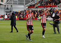 22nd May 2021; Brentford Community Stadium, London, England; English Football League Championship Football, Playoff, Brentford FC versus Bournemouth; Henrik Dalsgaard and Marcus Forss of Brentford applauding the Brentford fans after full time