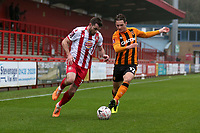 Danny Newton of Stevenage and Sean McLoughlin of Hull City during Stevenage vs Hull City, Emirates FA Cup Football at the Lamex Stadium on 29th November 2020