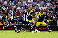 Pictured: Nicolas Anelka of West Brom (C) against Jose Canas of Swansea (R). Sunday 01 September 2013<br /> Re: Barclay's Premier League, West Bromwich Albion v Swansea City FC at The Hawthorns, Birmingham, UK.