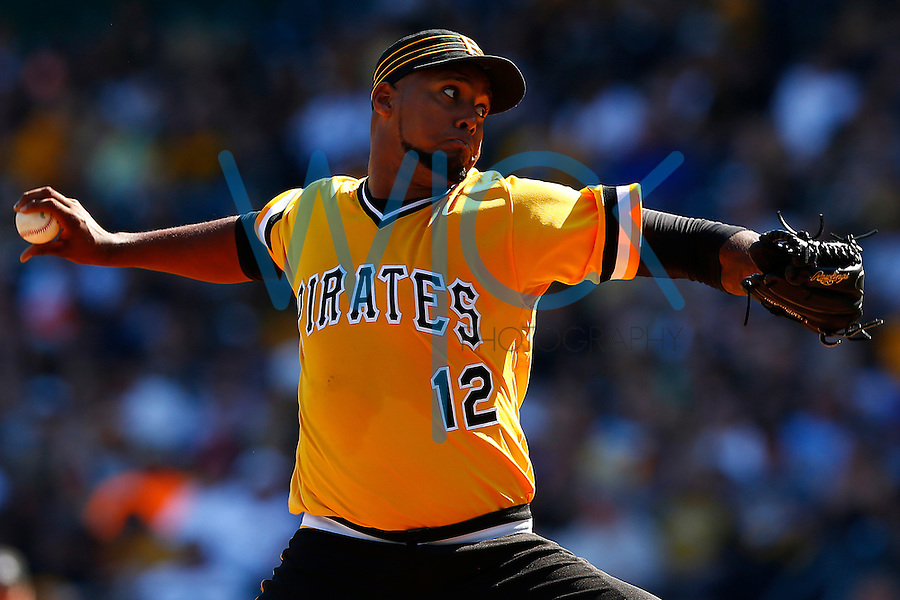 Juan Nicasio #12 of the Pittsburgh Pirates pitches against the Milwaukee Brewers during the game at PNC Park in Pittsburgh, Pennsylvania on April 17, 2016. (Photo by Jared Wickerham / DKPS)