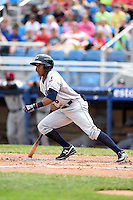 Mahoning Valley Scrappers outfielder Joel Mejia (6) at bat during a game against the Jamestown Jammers on June 16, 2014 at Russell Diethrick Park in Jamestown, New York.  Mahoning Valley defeated Jamestown 2-1.  (Mike Janes/Four Seam Images)